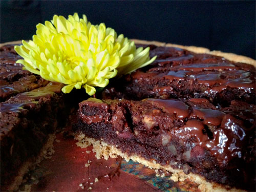 Chocolate Brownie Triple Nut Pie sliced